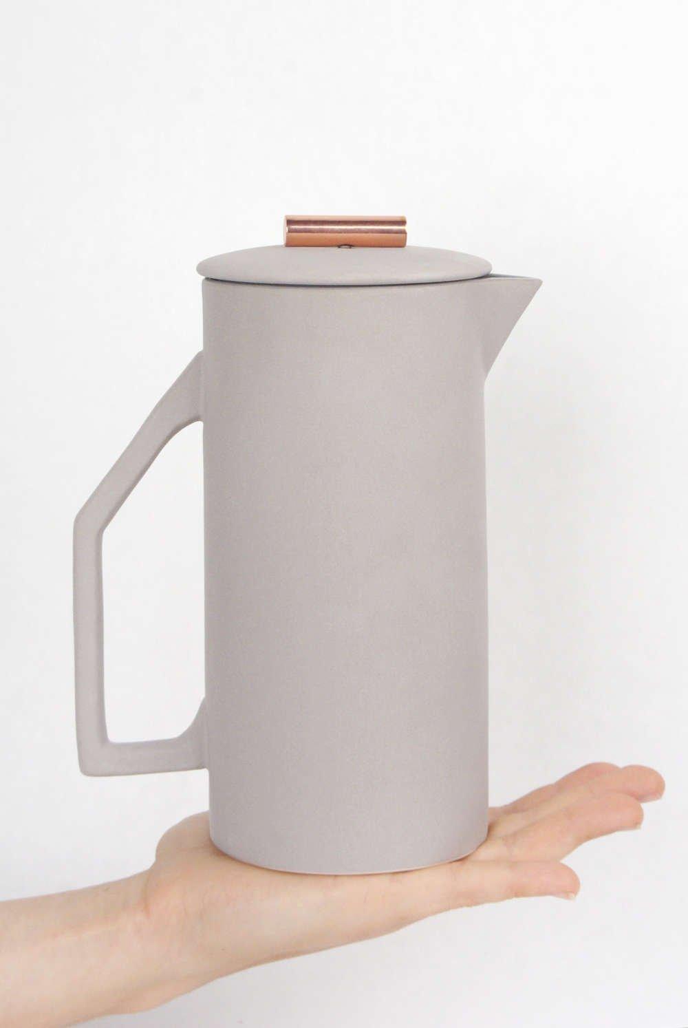 Handmade Ceramic Yield Design French Press Coffee Maker
