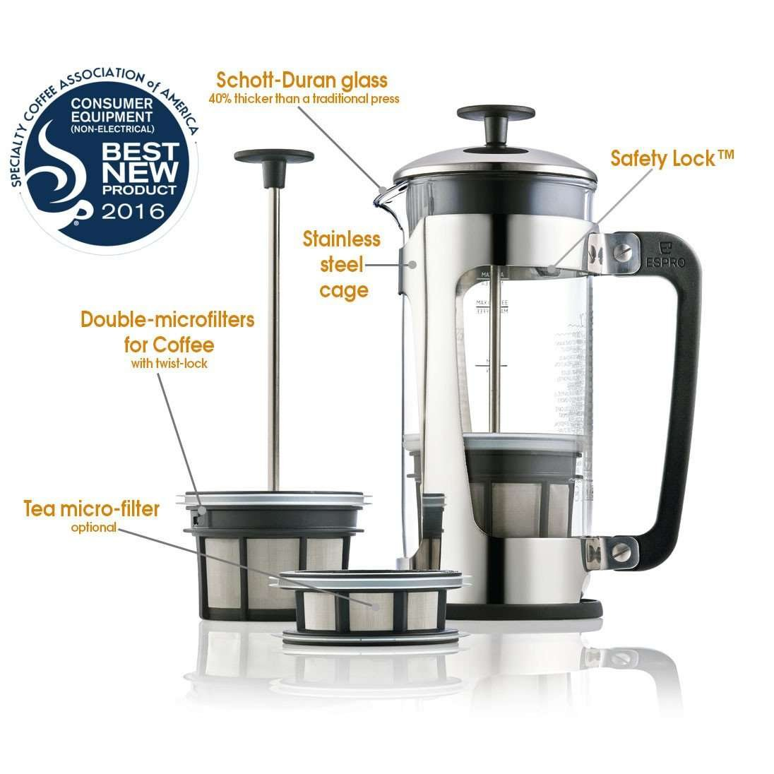 Espro Press P5 - French Press Coffee Maker with Thick & Durable Glass Carafe