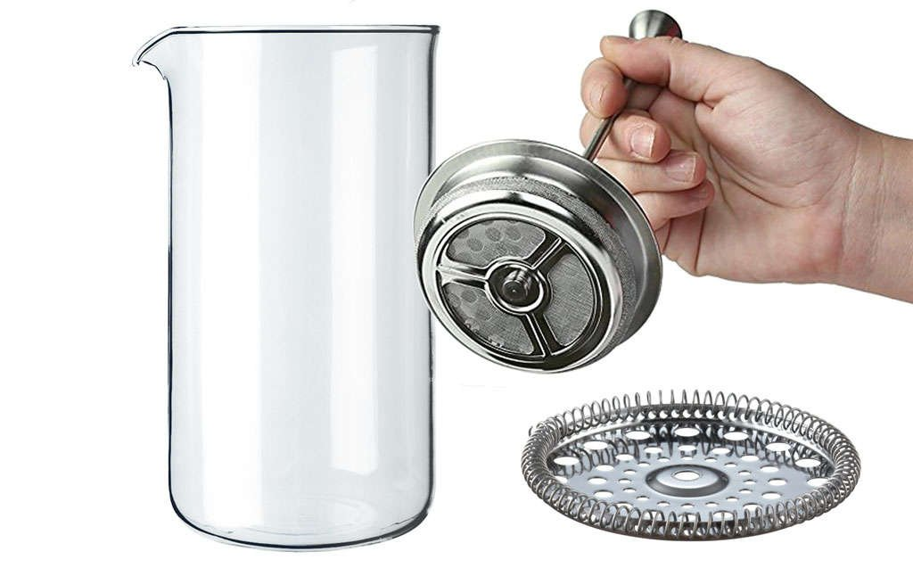 French Press Replacement Parts, Glass Carafe, Filter Screens