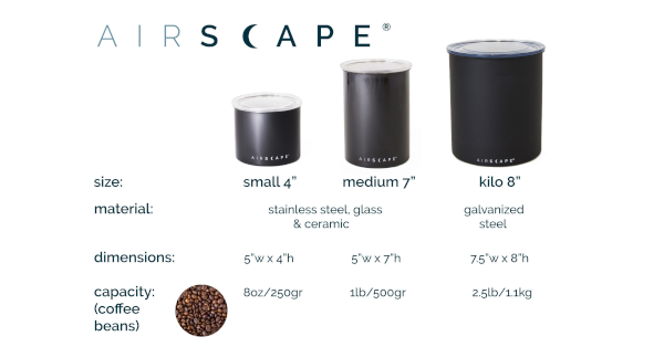Airscape Canister Comparison Chart
