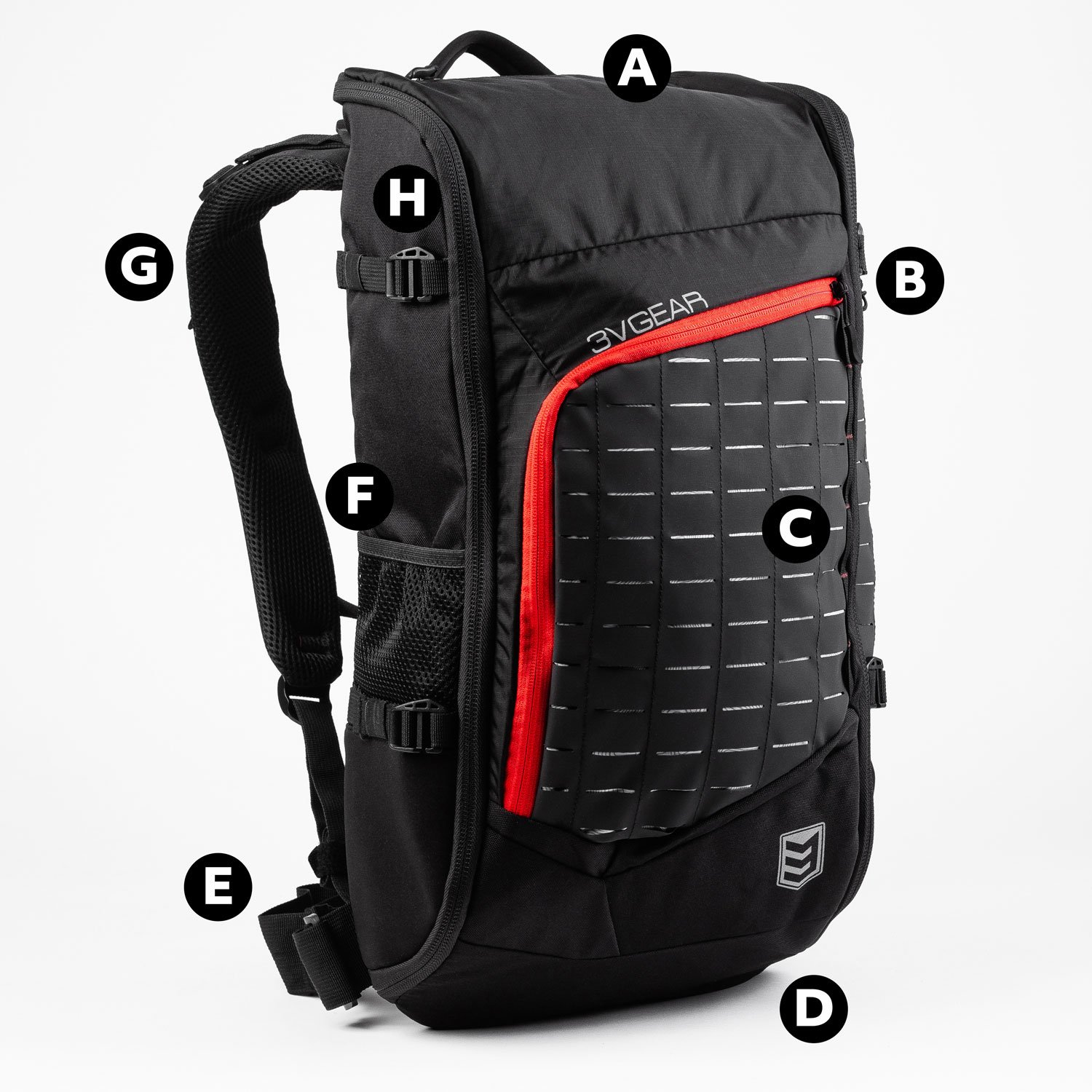 3v gear transit redline 40 liter edc backpack