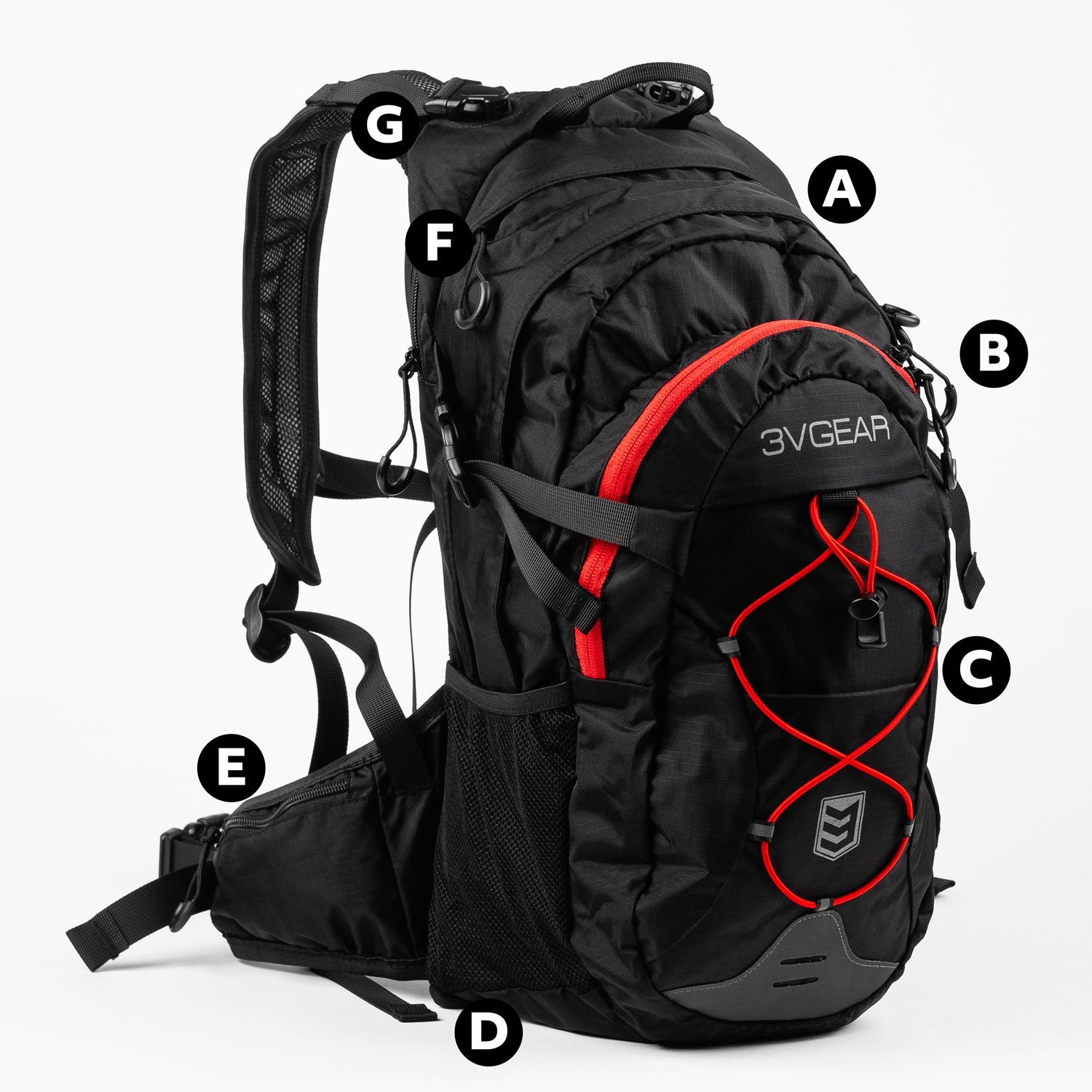 3v gear surge hydration backpack features