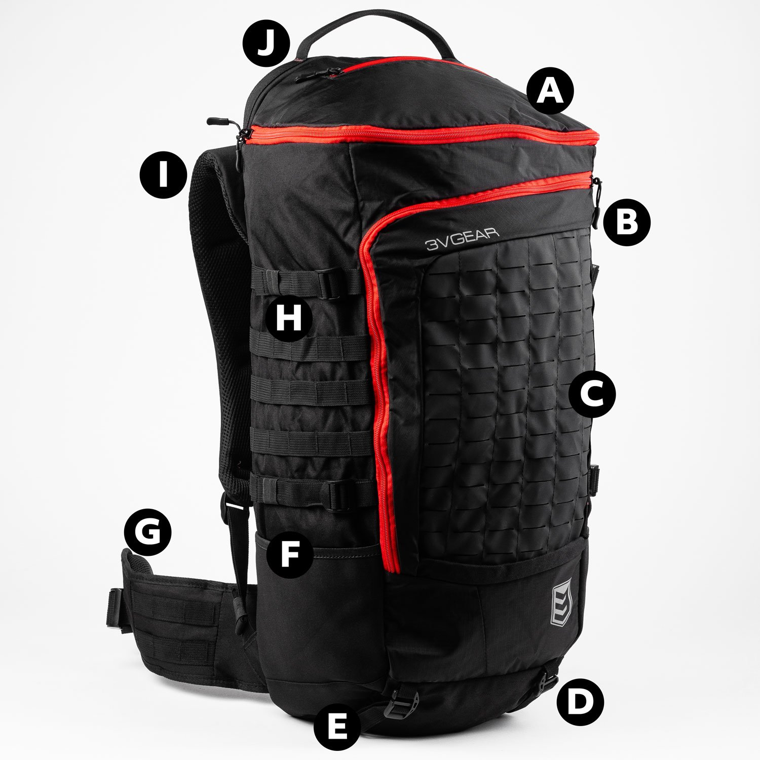 3v gear sovereign redline internal frame backpack