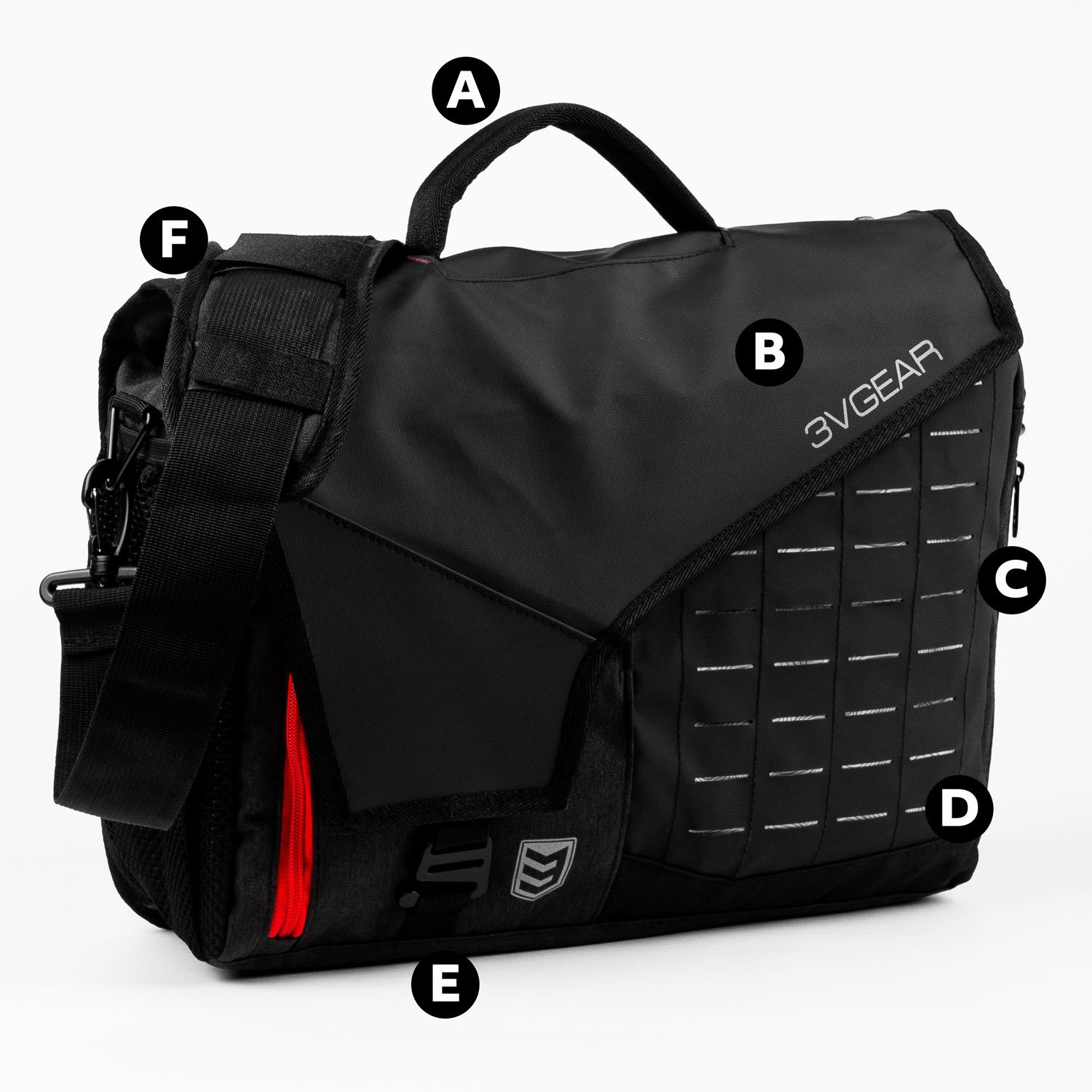 3v gear cipher redline messenger bag