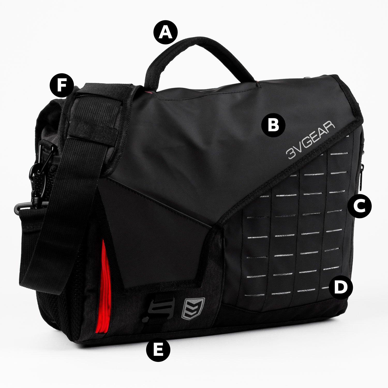 3v gear cipher redline messenger bag