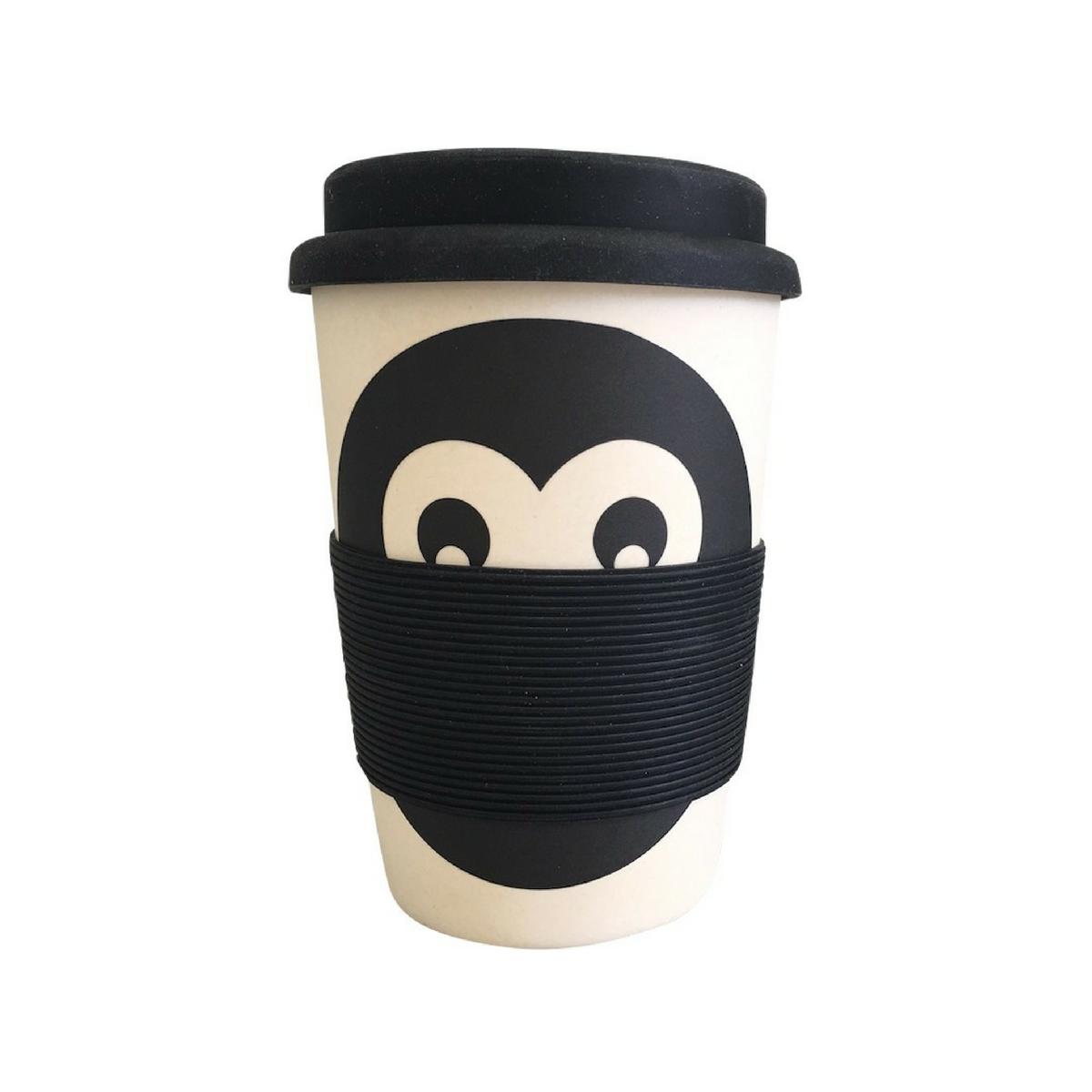 bamboo monkey reusable coffee cup
