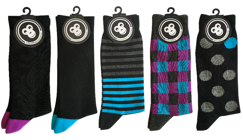 a mixed pack of plain and patterned bamboo monkey socks