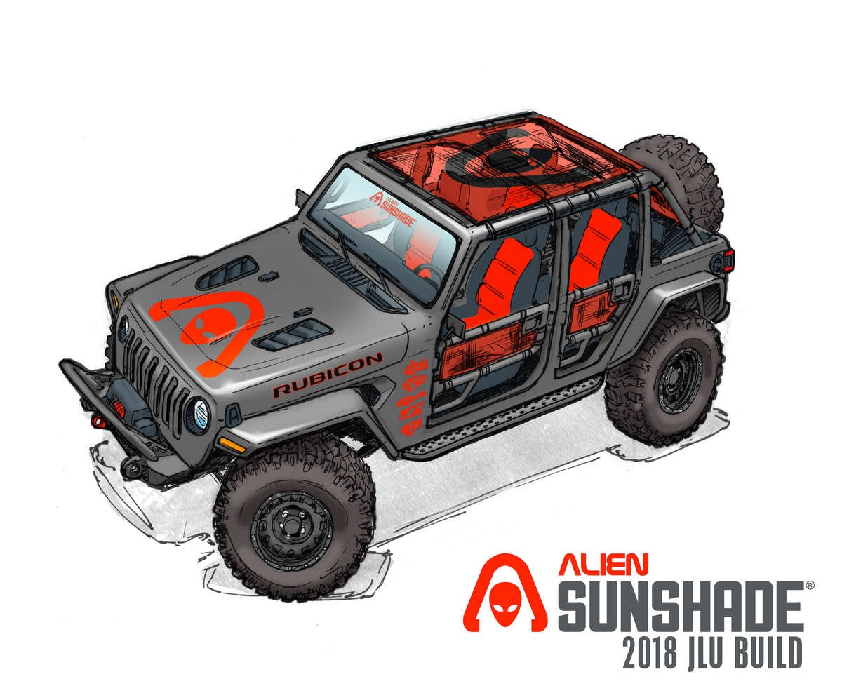 Alien Sunshade 2018 Jeep Wrangler JL Unlimited Rubicon Sun Shade Mesh Top Custom Build
