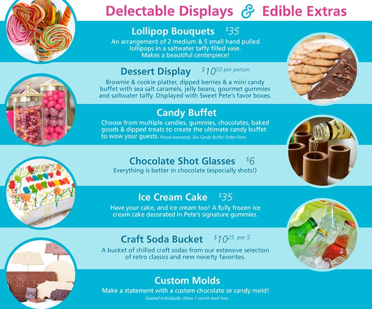 delectable displays and edible extras