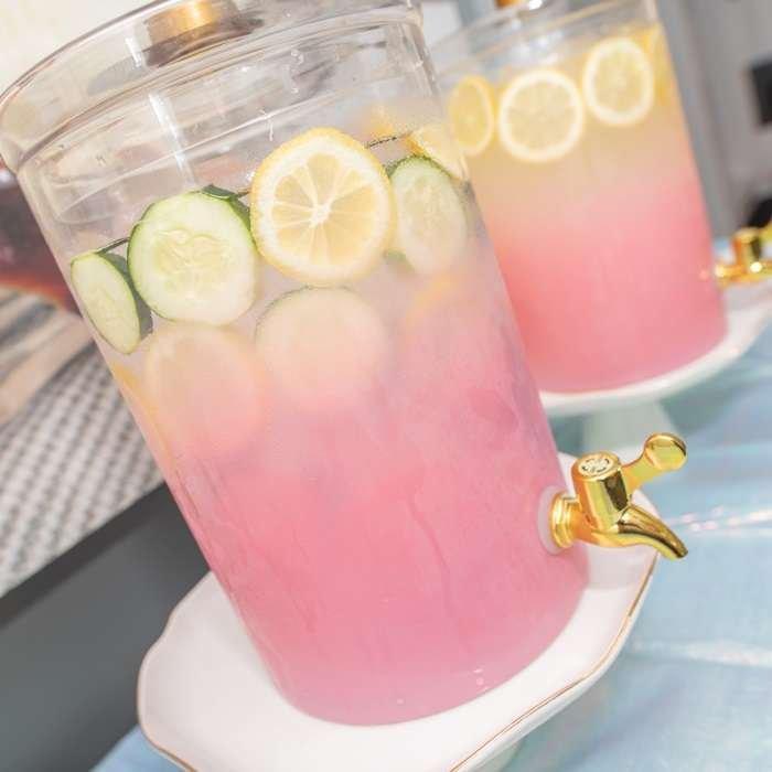 Lemonade and water