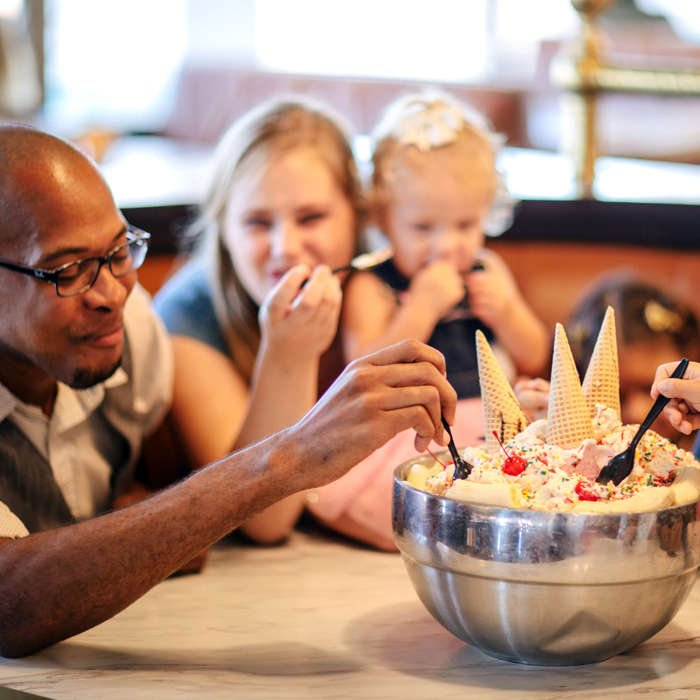 people eating dessert
