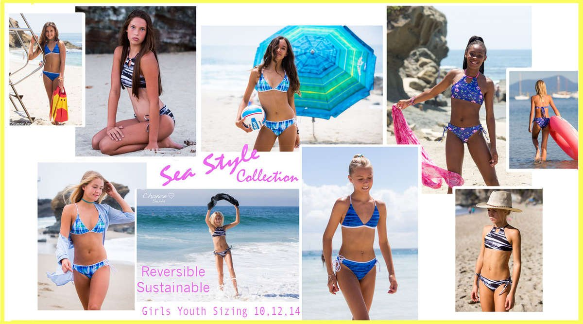 Teen and Tween Girls wearing Chance Loves reversible swimsuits on the beach