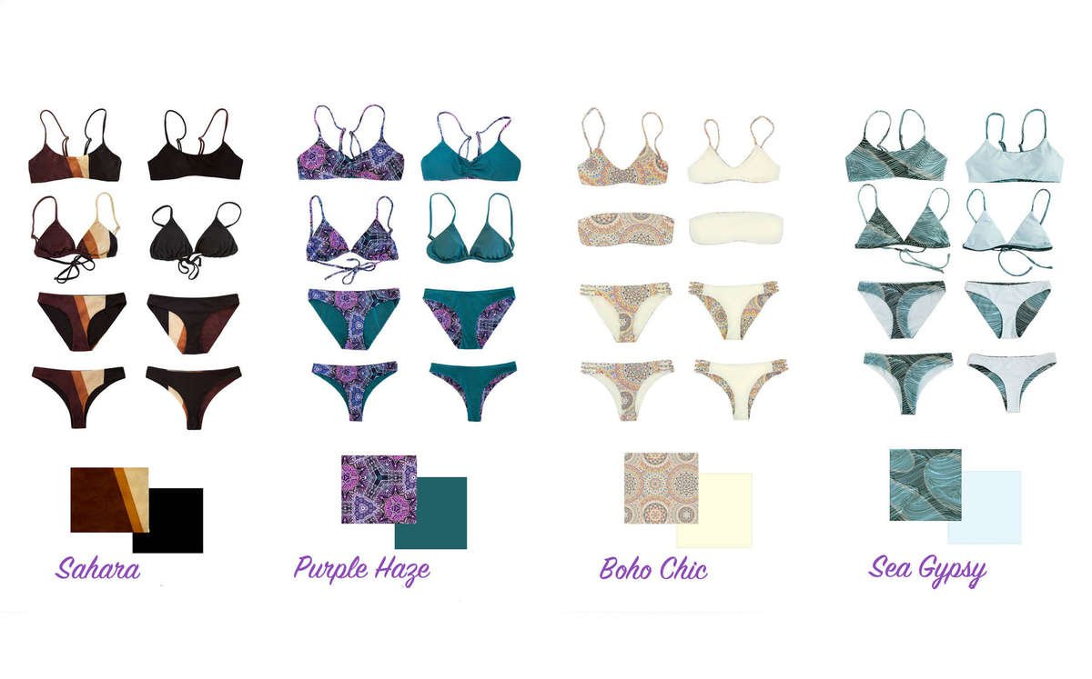 Eco friendly Swimwear styles padded, colorful and reversible