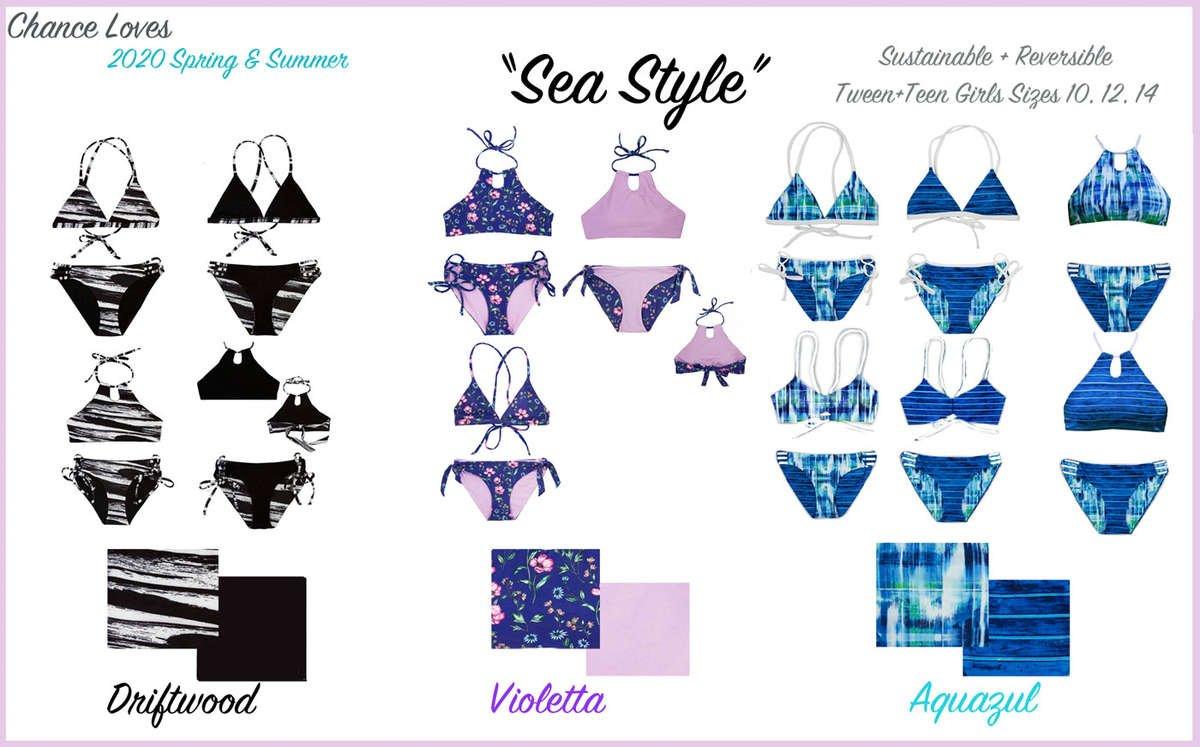 Teen swimwear Tween Girls Bikinis purple violet black white teal floral plaid