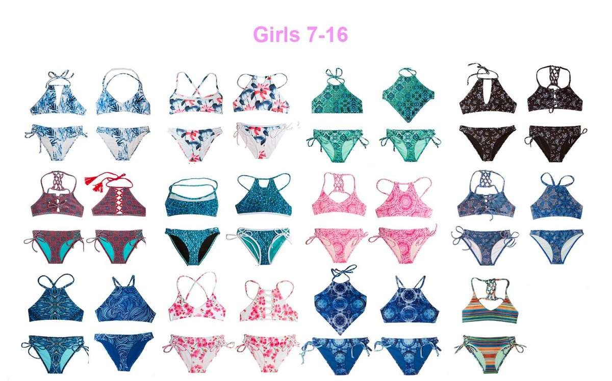 colorful 2 piece swimsuits for girls ages 7-16 by chanceloves teen brand