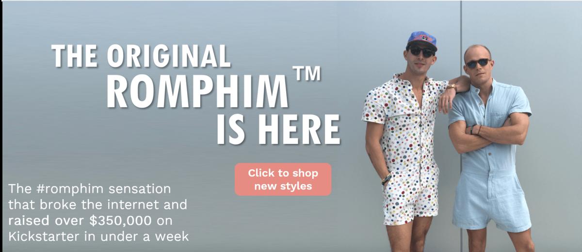 Buy the original romphim, the male romper that broke kickstarter