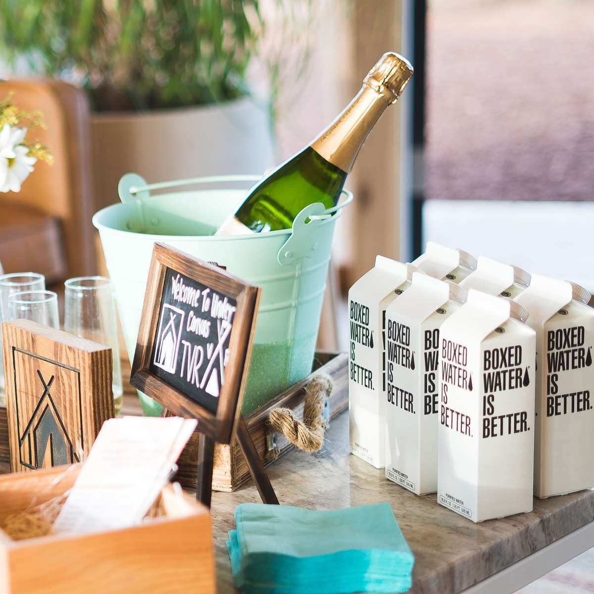 Boxed Water Champagne Bar