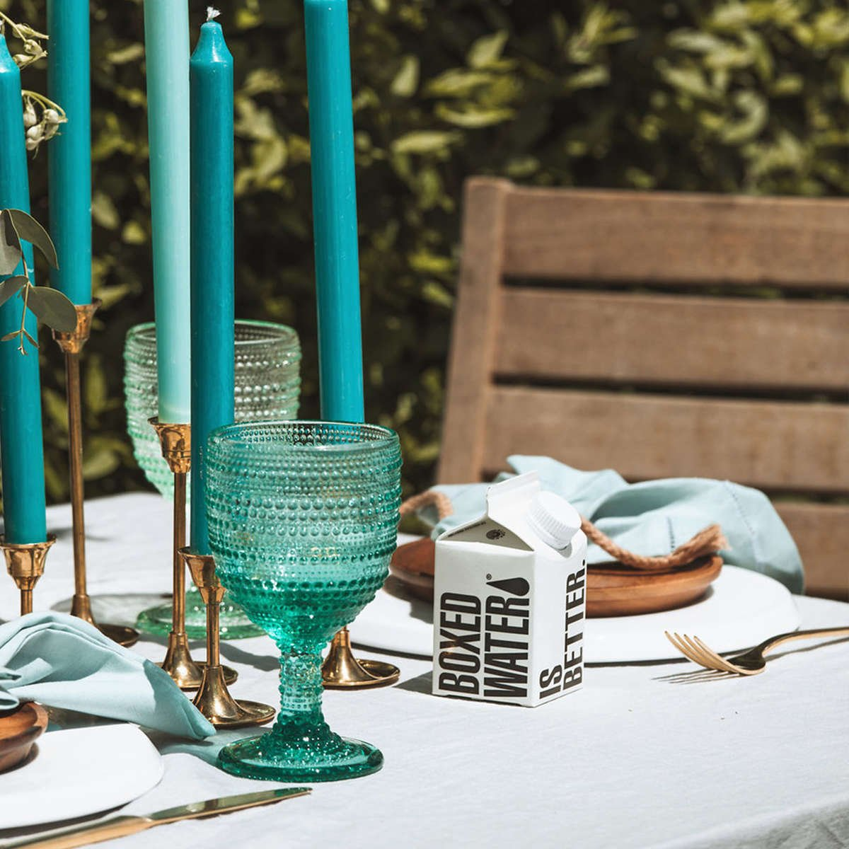 Wedding Table setting with Boxed Water