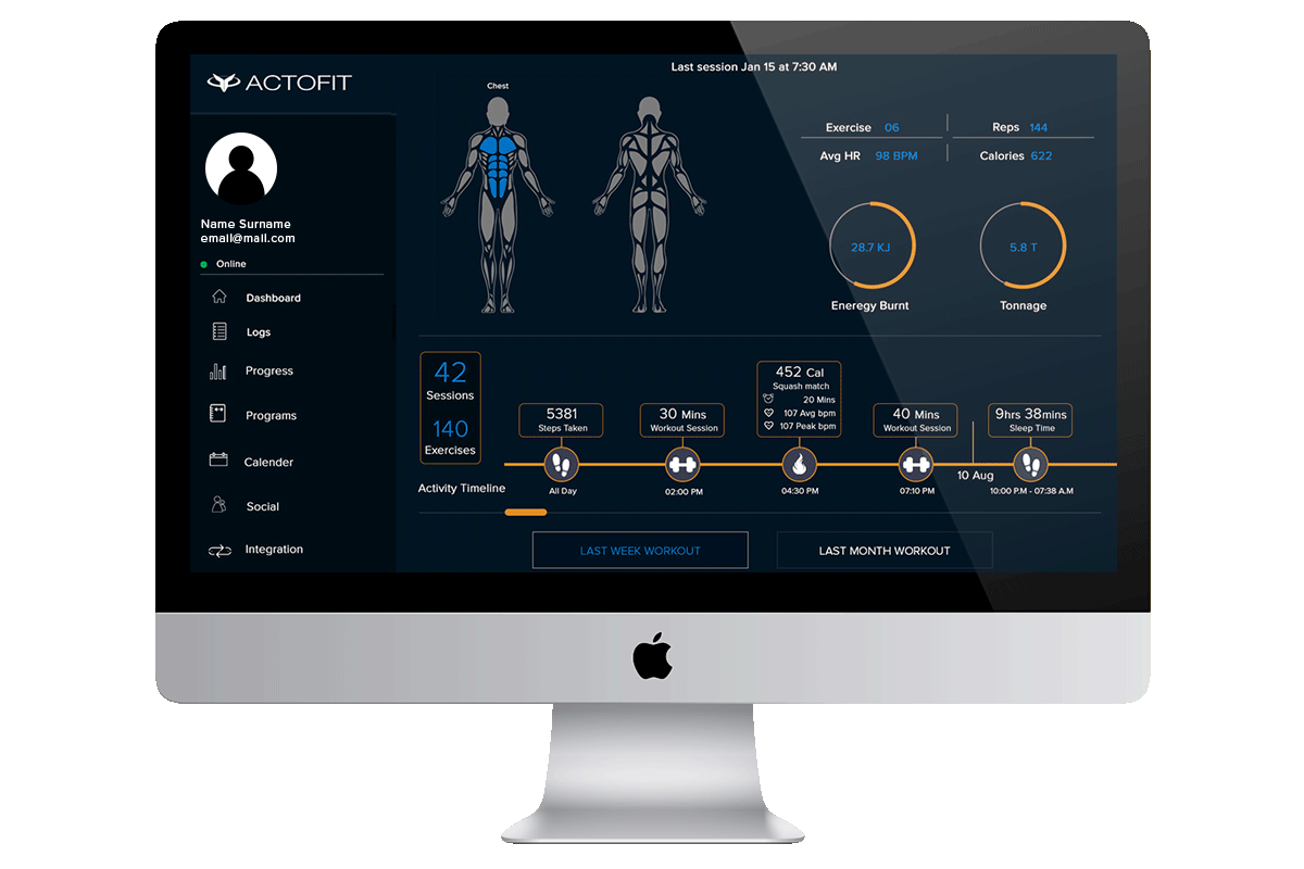 complete fitness journey dashboard actofit