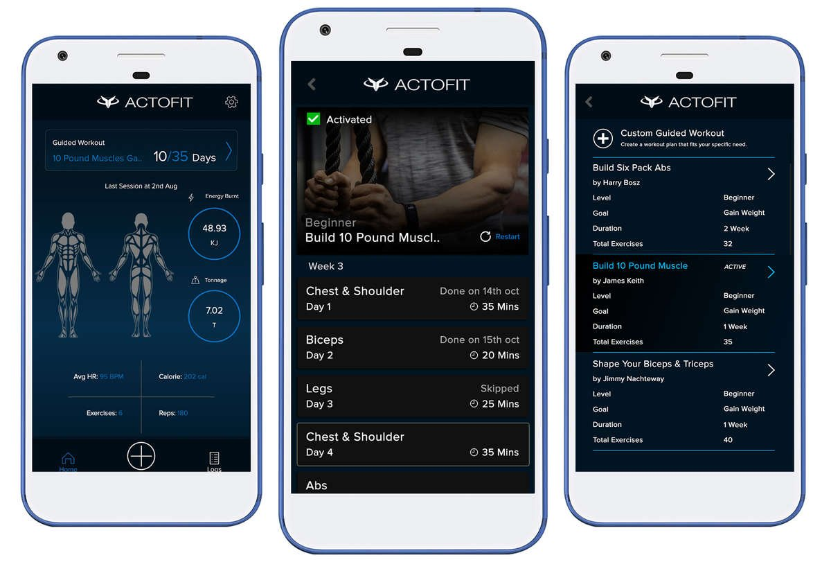 Actofit Engine app Guided Workout Mode