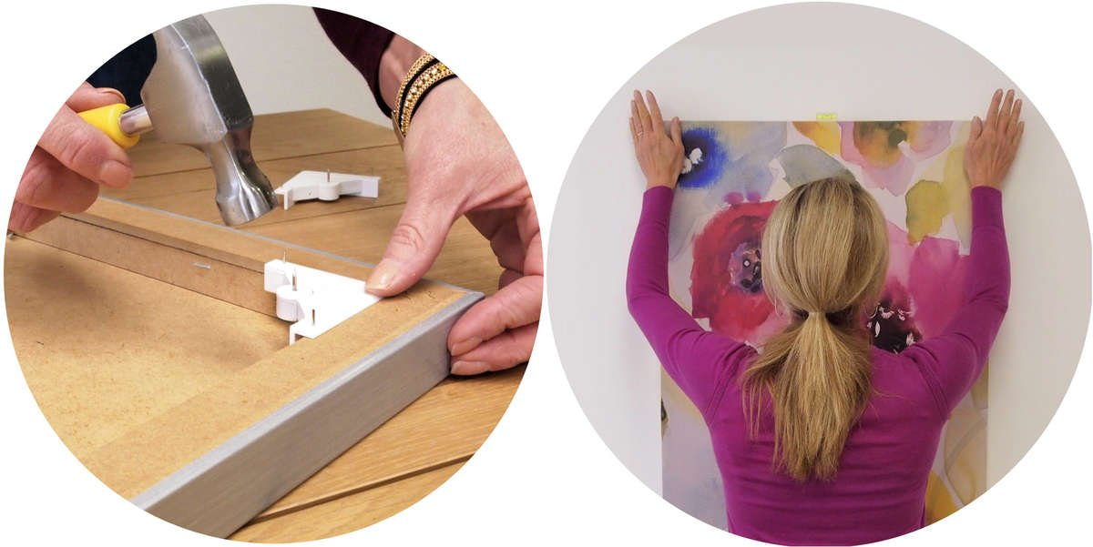 Simply hammer the corner brackets in and then push your canvas in the wall to hang it.