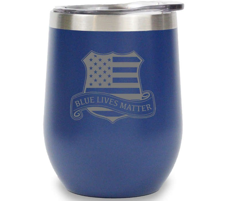 blue lives matters custom wine tumbler