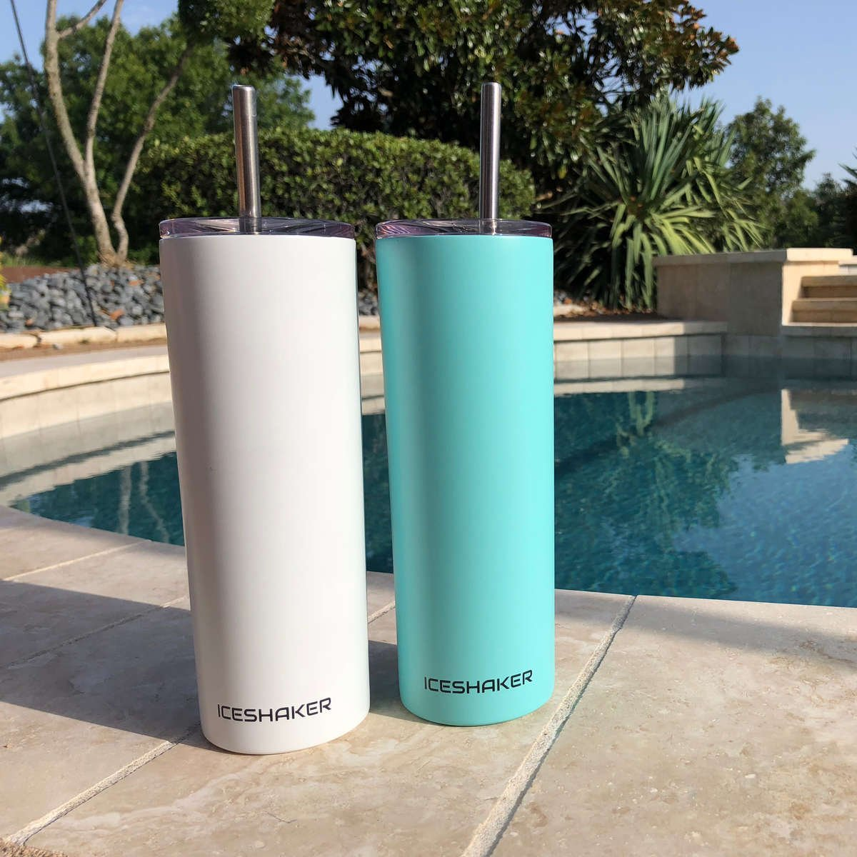 White and Mint tumblers