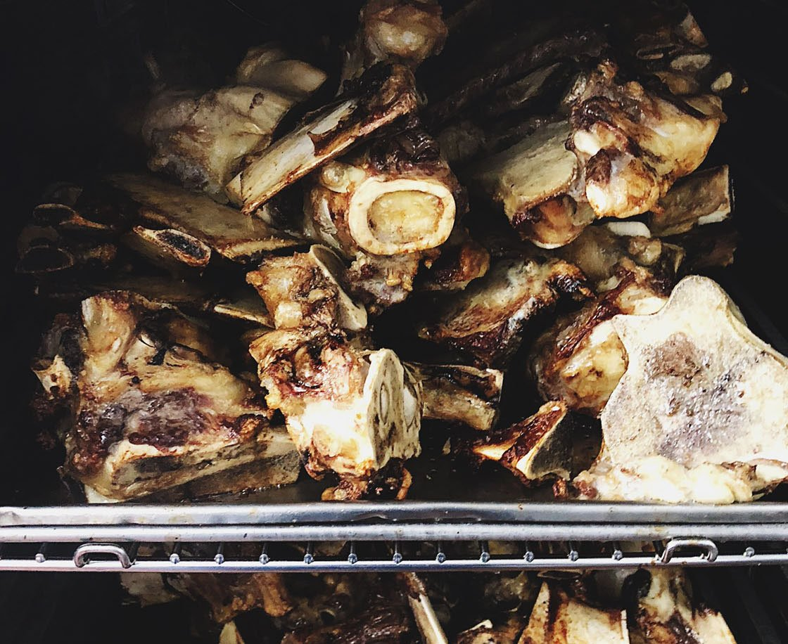 cooked bones preparation for bone broth