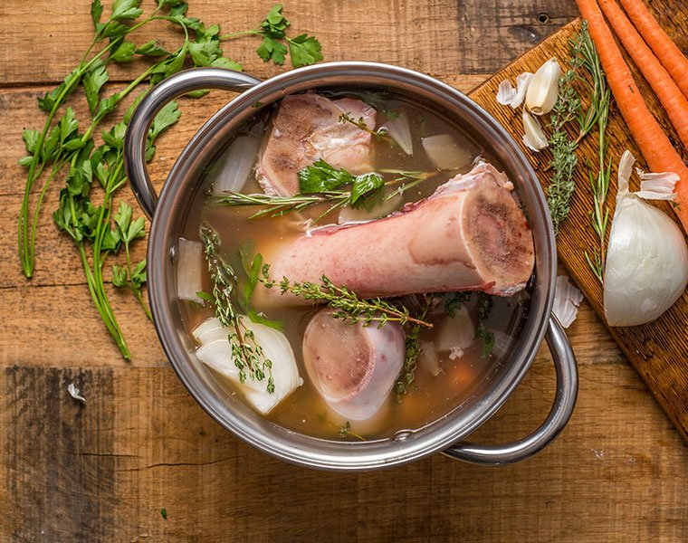bone broth being made in a pop with organic ingredients