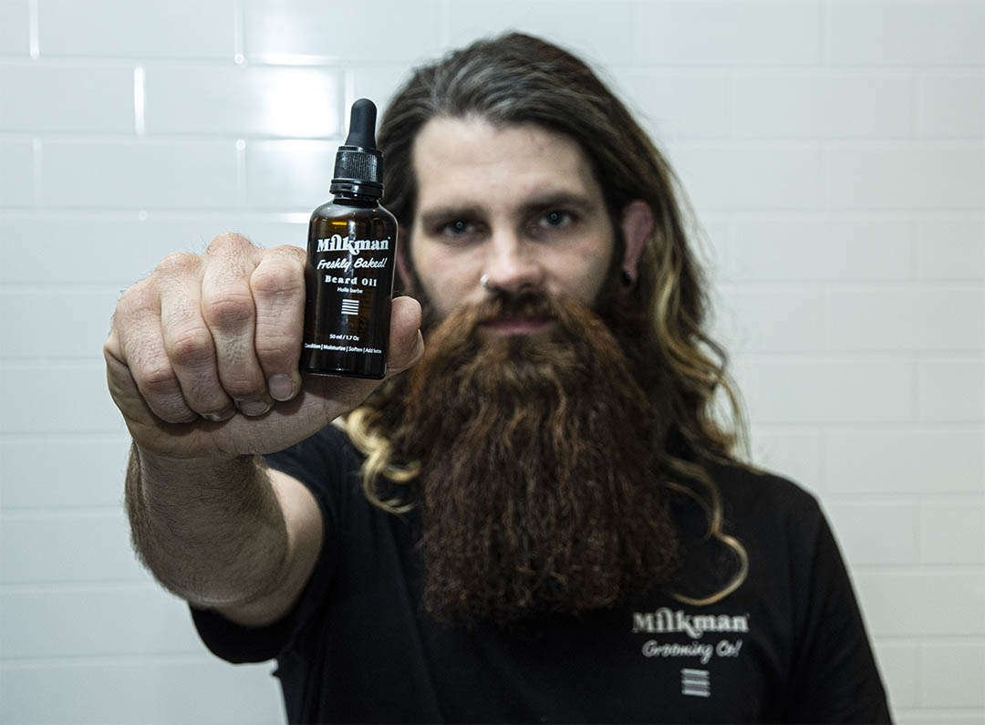 bearded man with beard oil