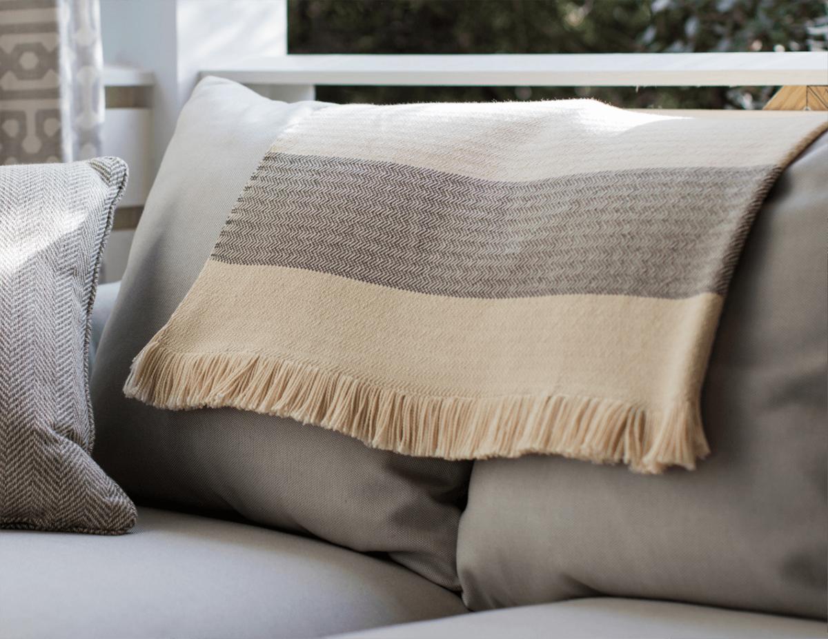 Sunbrella Indoor / Outdoor throw Blankets – Teak + Table