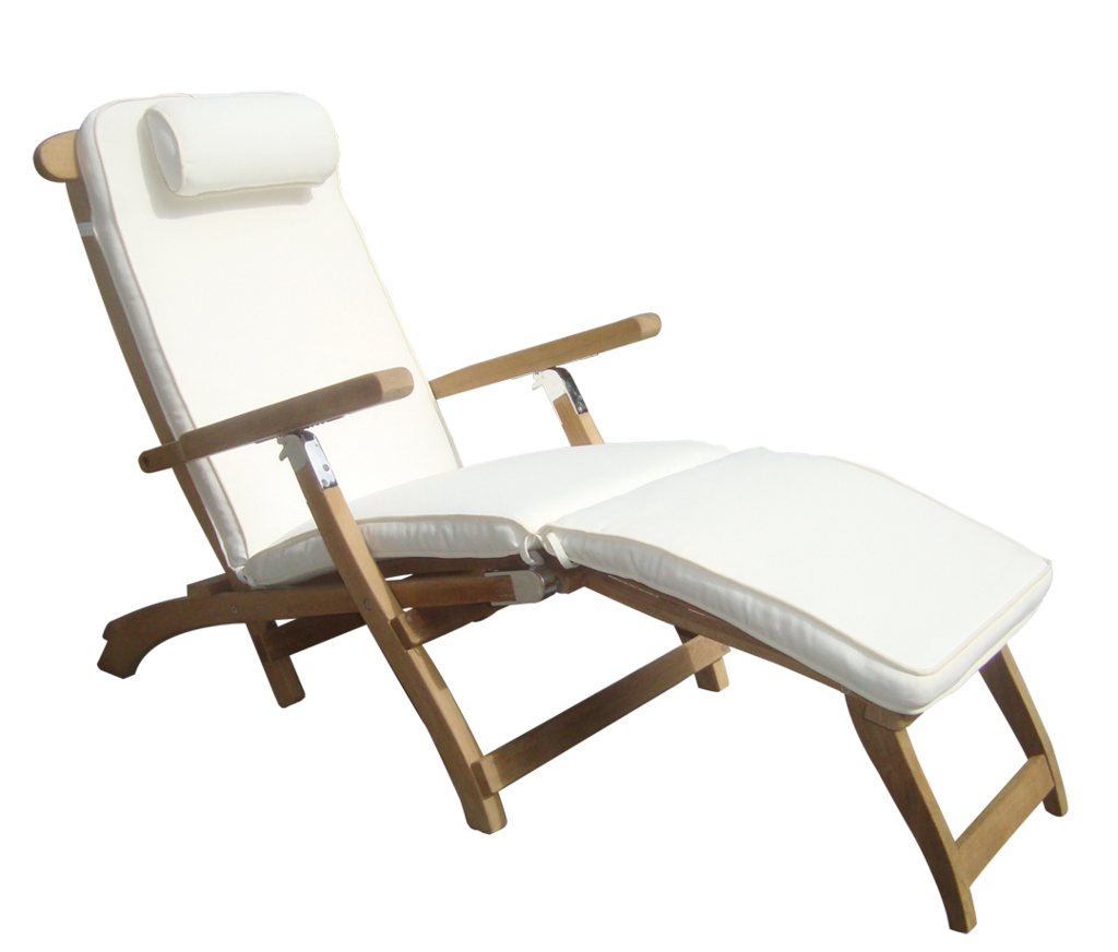 Steamer chaise lounge teak table - Chaise longue confortable ...