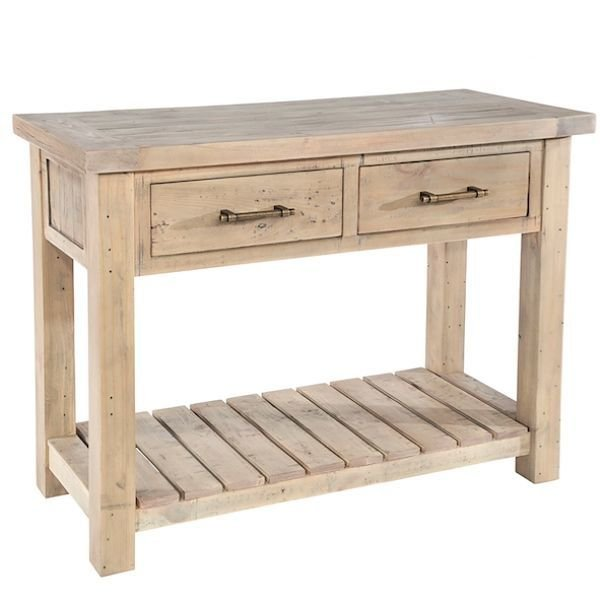 RECLAIMED WOOD AND OAK CONSOLE TABLES