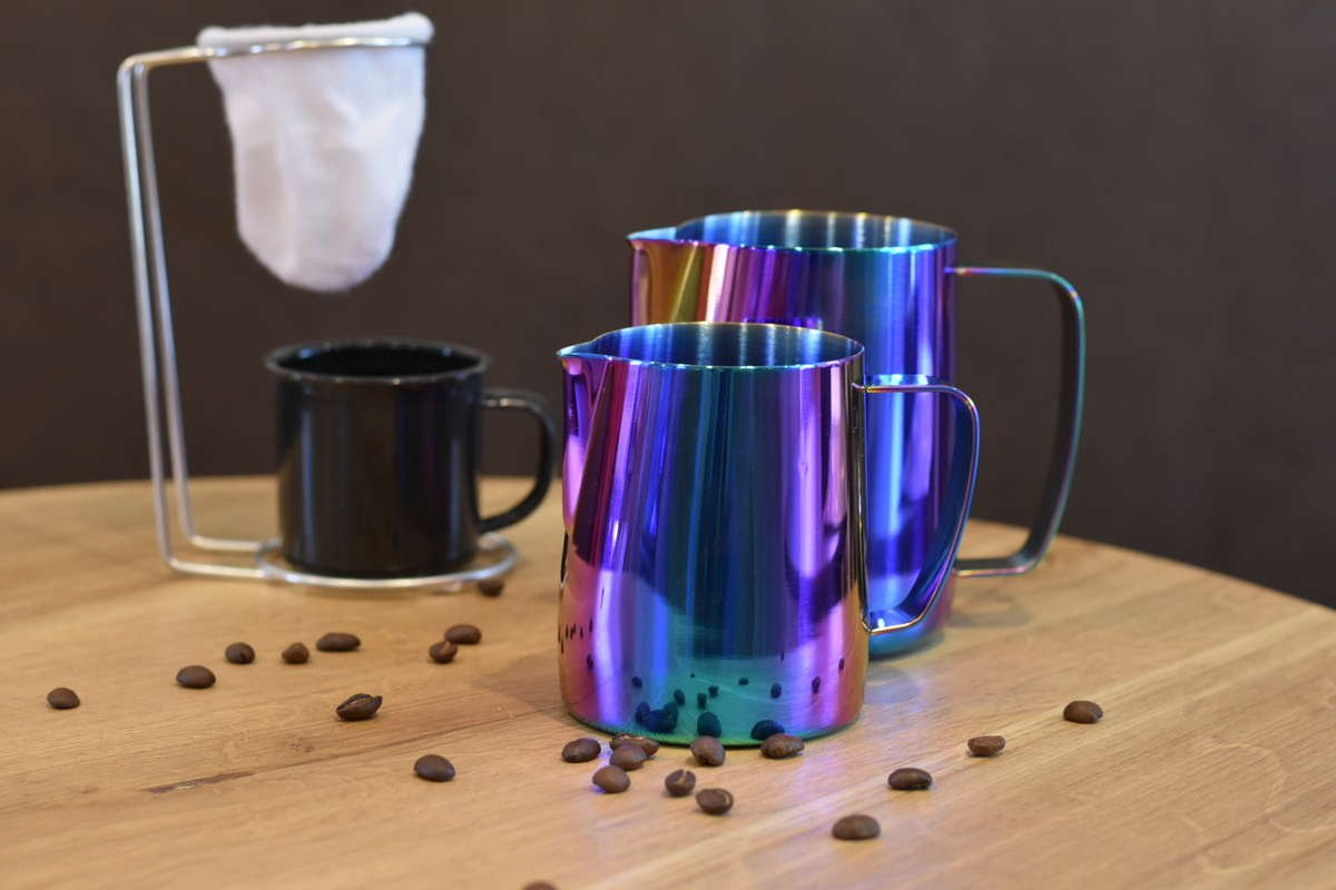 Titanium Milk PItcher Blue | Baristaswag.com