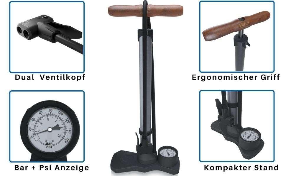 Die HiLo sports kompakte Standpumpe spart dir Platz in deiner Garage. Die kleine Fahrradpumpe pumpt bis zu 11 bar auf.