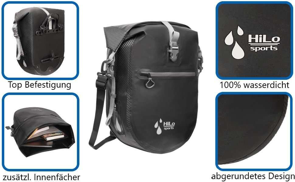 HiLo sport Fahrrad Hinterradtasche wasseridht, perfekt zum Transportieren von deinen wichtigesten Dinge, bis zu 25L Volumen.