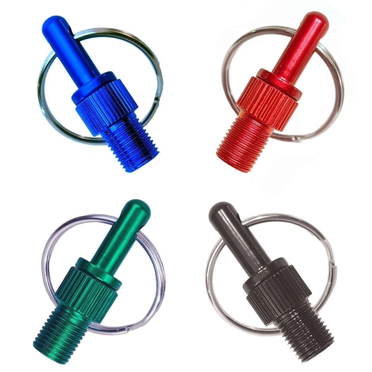 Bunte, eloxierte Fahrradventil Adapter mit Schlüsselanhänger in den Farben: Rot, Blau, Schwarz, Grün.