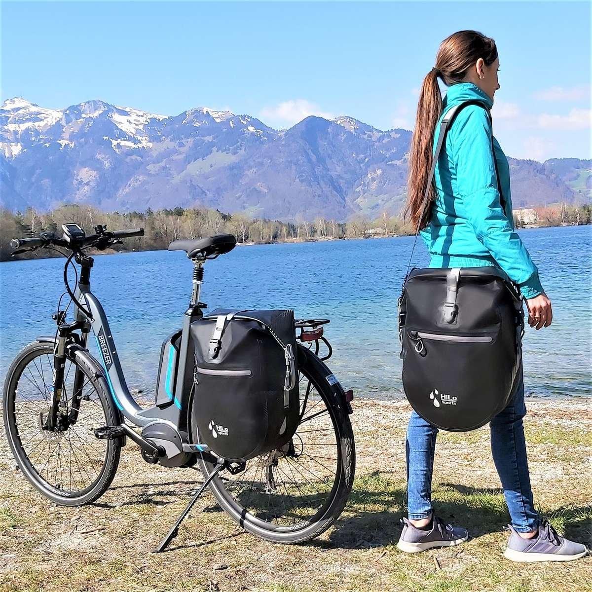 Geeignet für Radtouren und auch den Alltag. HiLo sports wasserdichte 25L Volumen Hinterradtasche für dein Fahrrad.