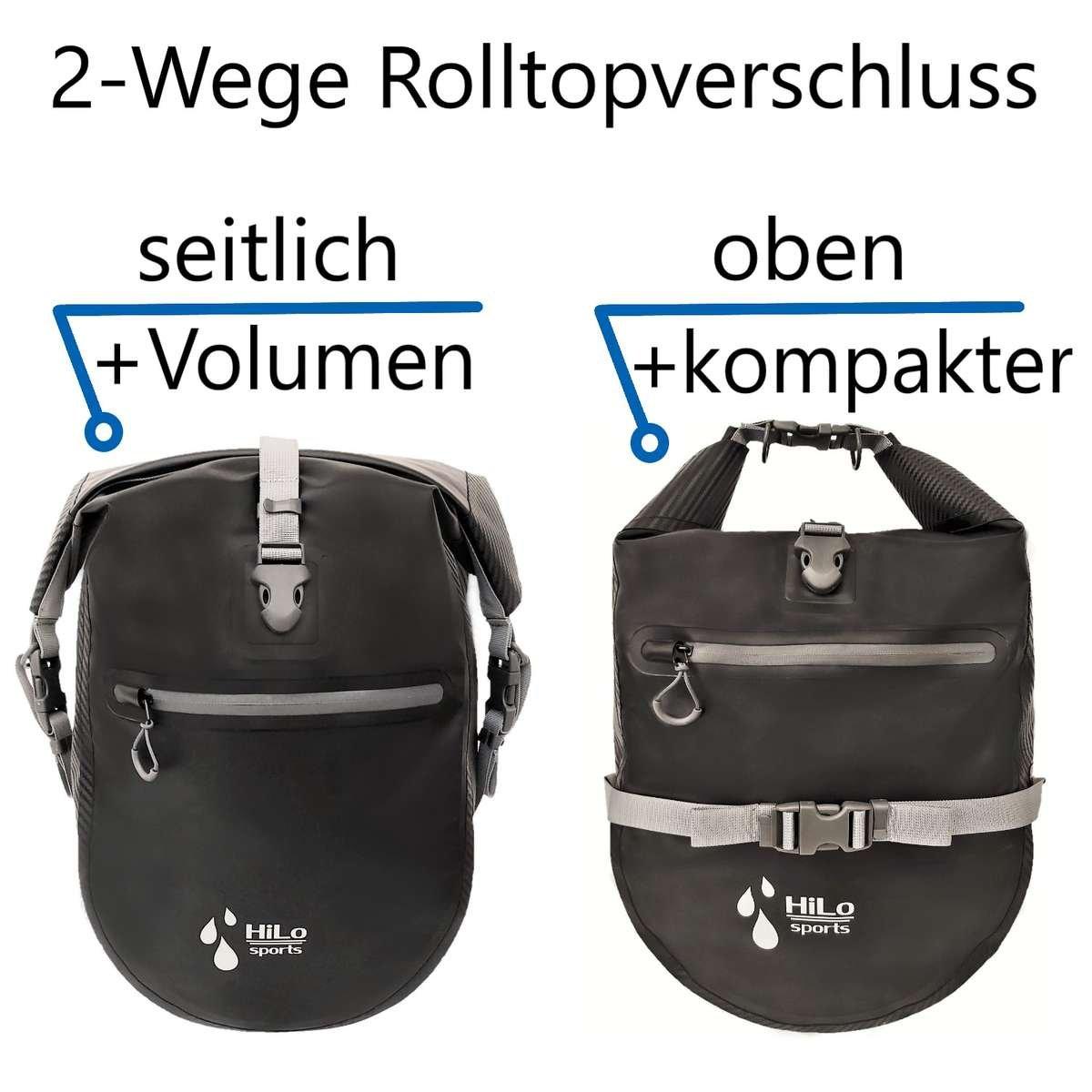 J nach dem ob du mehr Volumen brauchst oder eine kompaktere Radtasche für deinen Gepäcksträger, kannst du die Tasche unterschiedlich verschließen.