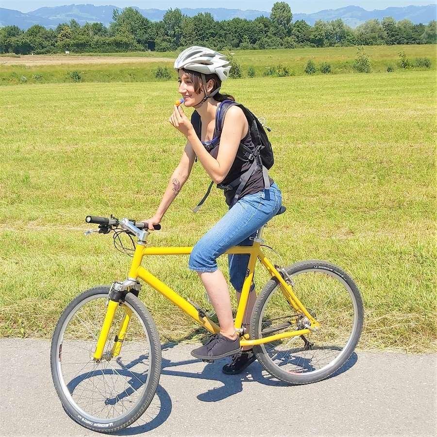 Fahrradrucksack befinden sich 3 Befestigungsriemen, ein Hauptfach und 2 Reißverschlussfächer.