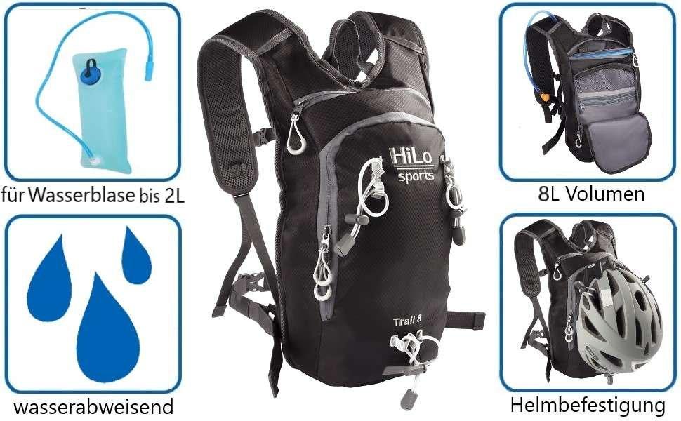 HiLo sport Fahrrad Trinkrucksack, 8Liter, wasserabweisend, leicht und komfortabel.