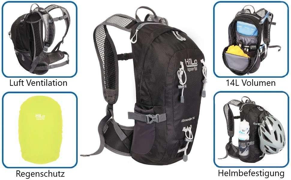 HiLo sport Fahrrad Rucksack, 14 Liter, wasserabweisend leicht und komfortabel.