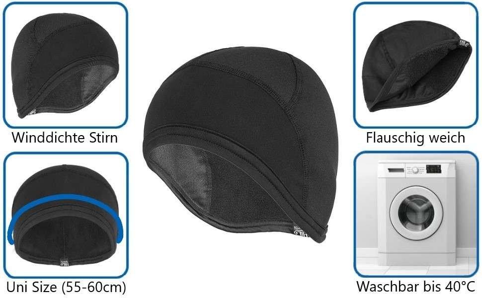HiLo sports Radmütze zum Radfahren bei kälteren Temperaturen. Waschbar, hygienisch, top!