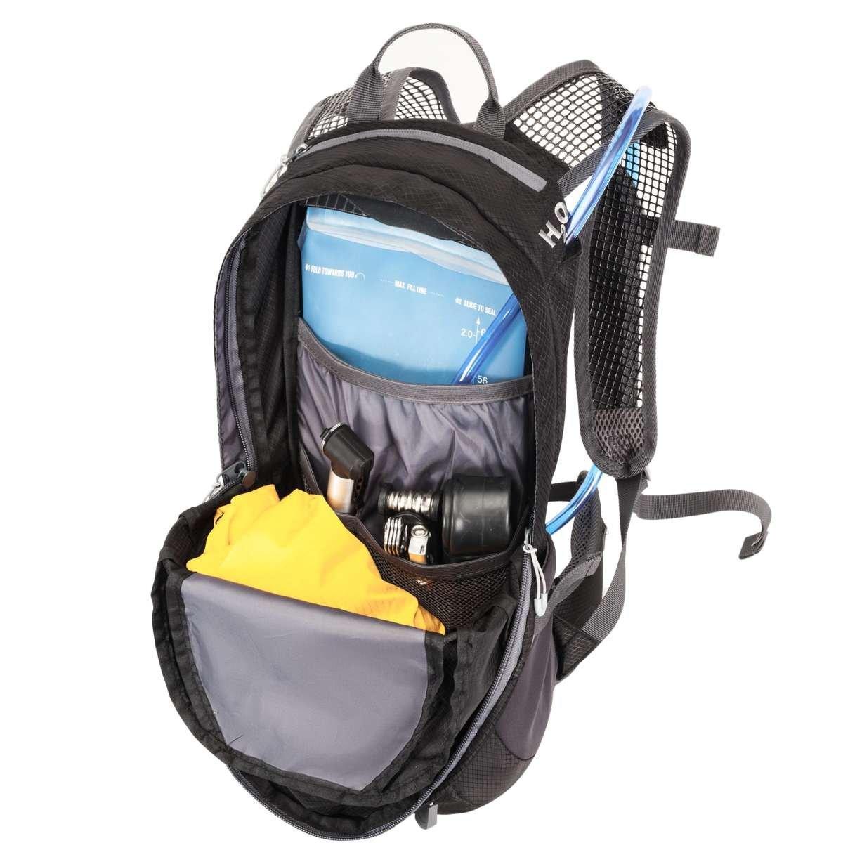 Der Hilo sports Fahrradrucksack Allrounder 14 ist auch für die Mitnahme einer Trinkblase von bis zu 2L geeignet.