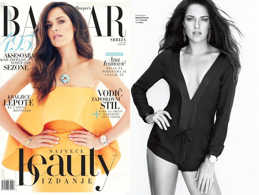 Ana Ivanovic in Naked Princess Lila Silk Romper in Harper' Bazaar Serbia
