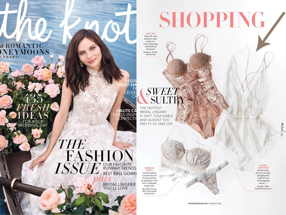 Naked Princess Ella Silk Romper in The Knot Magazine Bridal Lingerie Feature