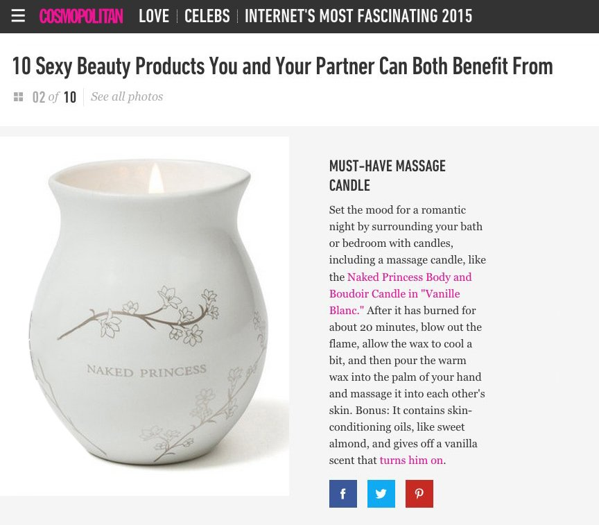 Naked Princess Body & Boudoir Massage Candle on Cosmpolitan