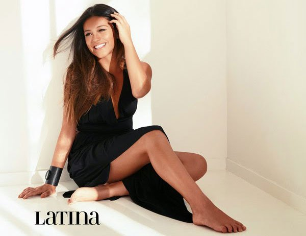 Gina Rodriguez in Naked Princess Signature Maxi Gown in Latina Magazine
