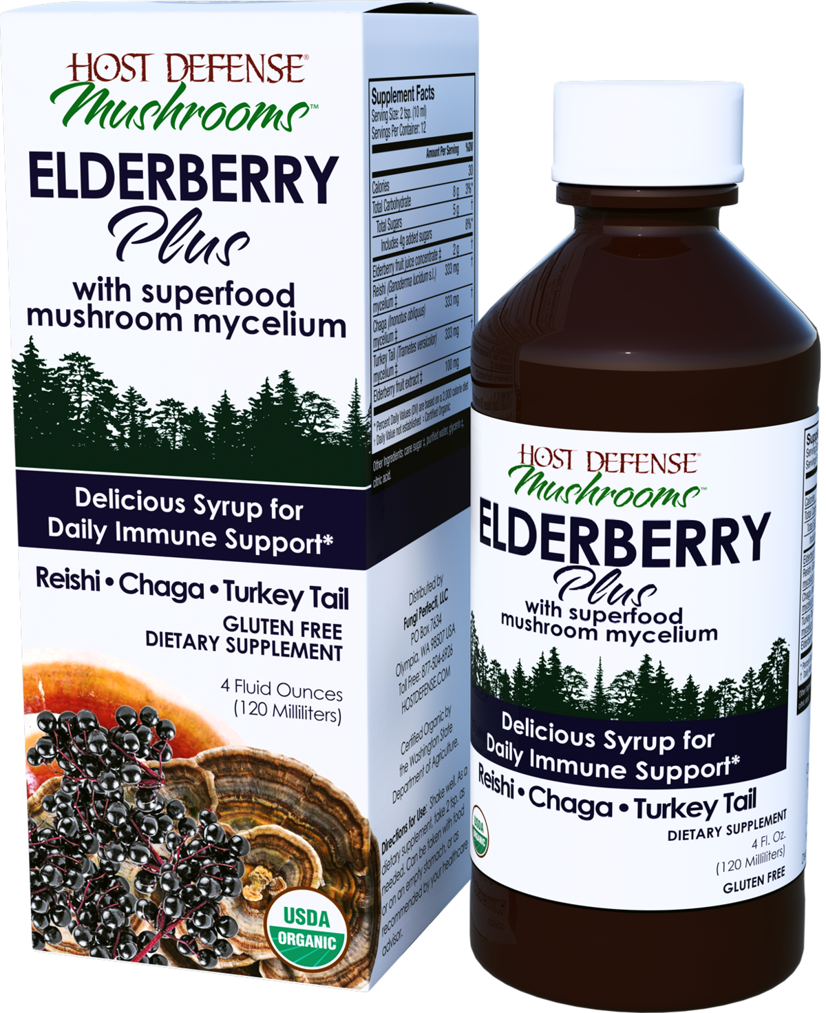 Buy Host Defense Elderberry Plus Syrup for daily immune support 4 oz