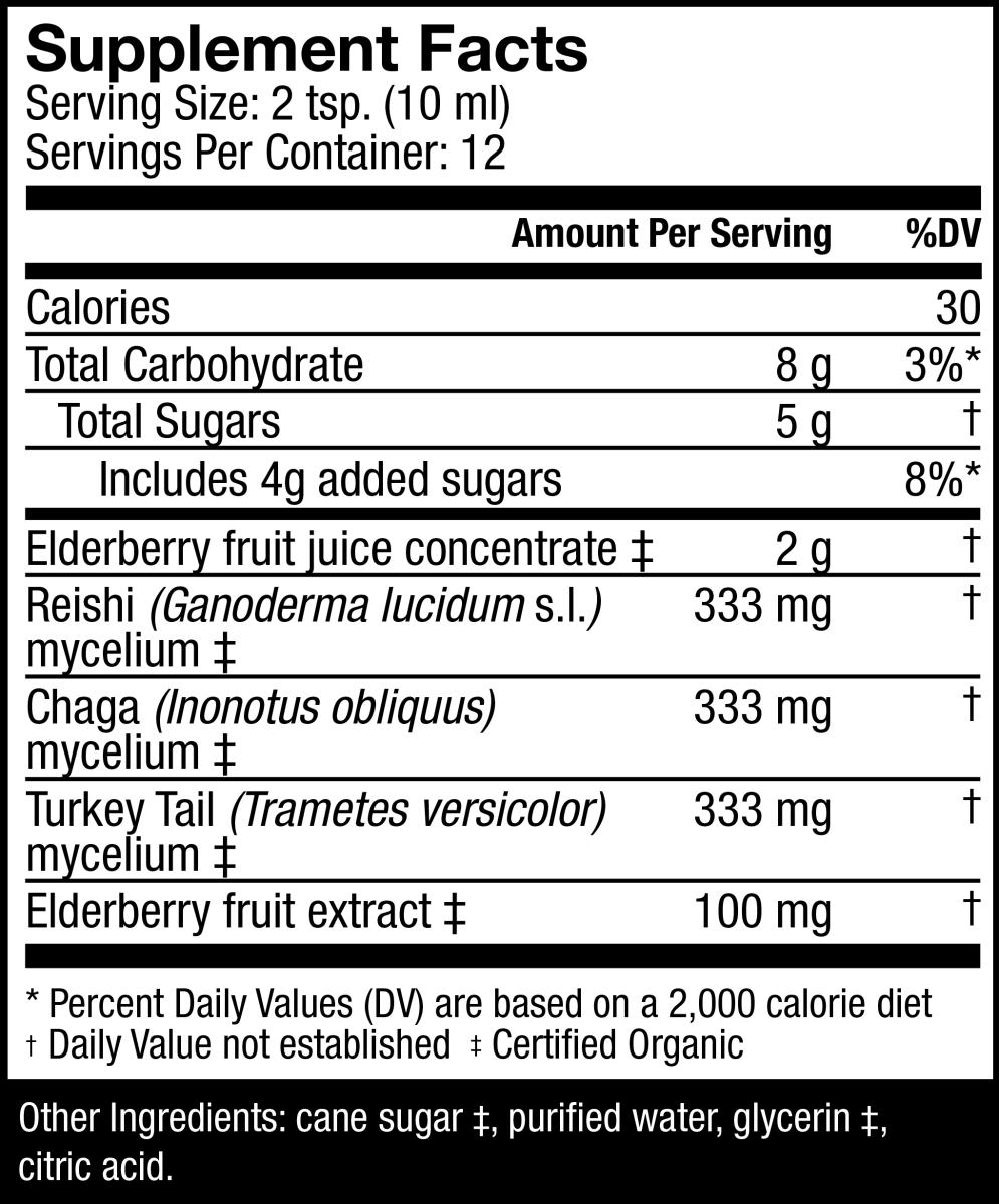 Host Defense Elderberry Plus Syrup Supplement Facts